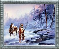 Shadow of the Forest Indian Native American Wall Picture Silver Art Framed 20x24