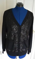 St. John Black Label Cardigan Sweater L Sequin Front Wool Silk Cashmere Blend