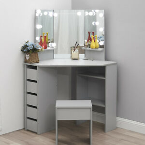 Modern Corner Dressing Table Multi-angle Mirror Desk 5 Drawer Dresser With Stool
