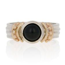 Round Cabochon Cut Onyx Ring - Sterling Silver & 14k Yellow Gold Solitaire