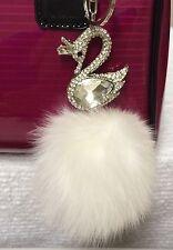 Crystal Swan With Real Fox Fur Ball Key Chain Purse Charm Keychain