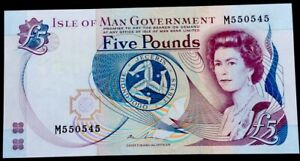 Isle Of Man 5 Pounds,P-41,QEII,UNC