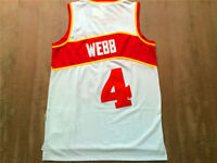 NEW Atlanta Hawks Spud Webb #4 White Throwback Swingman Basketball Sewn Jersey