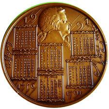 Classical Music Famous Austrian Composer Mozart Calendar HUGE Bronze Medal N129