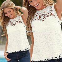 Fashion Women Summer Vest Top Sleeveless Blouse Casual Tank Tops T-Shirt Lace EF