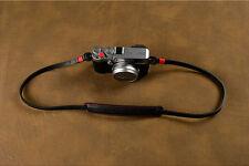 Handmade Black Red Leather Neck Shoulder Belt Strap Sling Leica Sony Fuji Camera