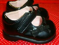 Baby Girls Teeny Toes Shiny Black Mary Jane Shoes w/Bow T-strap Closure Sz 1  S2