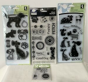 Inkadinkado Cloud 9 DOGS Puppy Bone Clear Rubber Stamps Sets Lot of 4