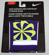 Nike Running High Contrast Storage Wrist Band Sz S/M Electro Purple/Volt **