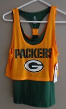 Green Bay Packers Teens Girls Tank shirt layered NFL size M 7-9 NEW with tags