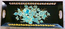ANTIQUE Tole Tray HAND PAINTED SIGNED Fret and Handle Cut out Blue Gold Long