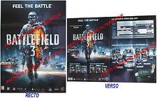 Affiche publicitaire BATTLEFIELD 3 pub jeu console game PLV poster Bon Etat