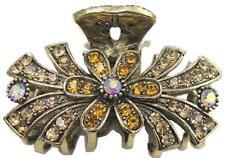 Antique Silver Gold Crystal Rhinestone Metal Hair Claw Clip