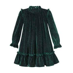 Pettigirl Vintage Girls Green Christmas Velvet Dress Autumn Clothes 6 8 10 12
