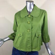 Cato Women's Green Jacket Ruffle 3/4 Sleeve Blazer Puritan Collar Buttons Medium