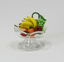 Dollhouse Miniature Clear Glass Pedestal Bowl Filled with Fruit