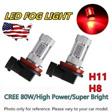 2x H11 H8 H9 Car 80W High Power Red 800LM LED Fog Lights Lamp Bulb Replacement