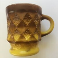 Fire-King Kimberly Coffee Mug Brown Yellow Diamond Quilted Anchor Hocking Glass