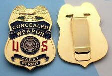 CONCEALED WEAPON Badge Money Belt Clip 2.75 Inch  GOLD Plating