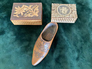 Two small antique stamp boxes, and wooden treen shoe