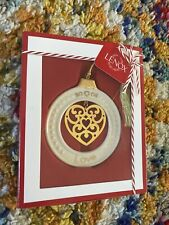 Lenox Christmas Love Ornament Porcelain Circle W/ Hanging Heart 24k Gold Accents