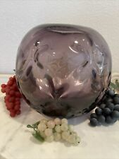 Amethyst Round Glass Bowl For Flowers Fruit Display Or Candle Holder