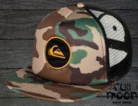 New Quiksilver Mens Snapstearn Camo Trucker Snapback Cap Hat