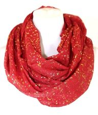 B5 Metallic Spec Red & Gold Soft Infinity Scarf Boutique