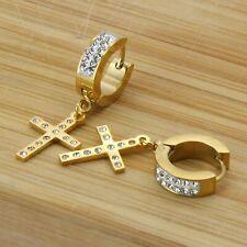 Mens Gold Stainless Steal Cz 2 Row Huggie Hoop Cz Cross Dangle Earrings