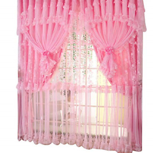 Comforbed Jacquard Princess 4-Layer Ruffle Lace Embroidered Tulle Window Panel x
