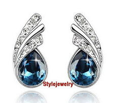 White Gold Filled Blue Teardrop Stud Earring Made With Swarovski Crystal XE10