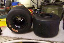 (2) MG REAR KART RACING TIRES SIZE 11 X 7.10 - 5 W/ DOUGLAS BLACK ALUMINUM RIMS