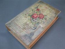 Vintage Caja de Regalo Alhajera 21cm X 13cm Cofre de Tesoro Rosas Torre Eiffel