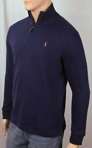 Polo Ralph Lauren Navy Blue Estate Rib Half Zip Sweater Multi Color Pony NWT