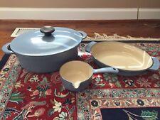 Set of 3 Blue LE CREUSET #32 Oval 7.25 Qt Dutch Oven, #28 Oval Baker, Small Pan