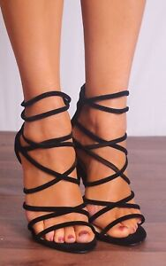 BLACK STILETTOS HIGH HEELED HEELS STRAPPY SANDALS PEEP TOES SHOES SIZE 3 4 5 6 7