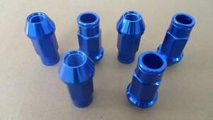 20 OPEN M12X1.25 50MM ALUMINUM TUNER RACING LUG NUT For SUBARU STI WRX Blue