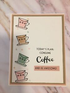 Stampin Up Todays Plan Consume Coffee And Be Awesome Card With Envelope Set Of 2
