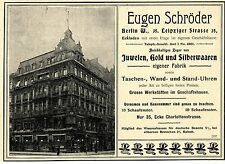 Eugen Schröder Berlin W. JUWELEN GOLD & SILBERWAAREN Historische Annonce 1899