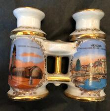 Vintage France Binocular Salt & Pepper Shakers Douaumont & Verdun Gilded EUC