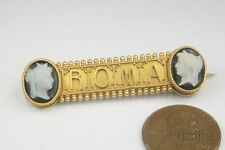 ANTIQUE ITALIAN 18K GOLD ROMA SOUVENIR BROOCH w/ CARVED AGATE CAMEOS c1880