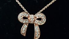 STERLING SILVER .925 ROSE GOLD TONE CUBIC ZIRCONIA BOW PENDANT NECKLACE 20 1/4''