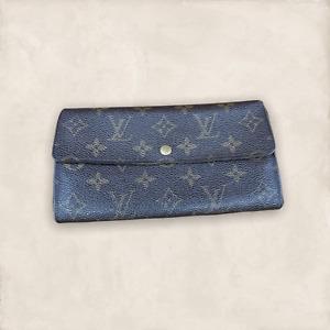 LV2215 LOUIS VUITTON Brown Monogram Canvas Leather Sarah Envelope Wallet USA