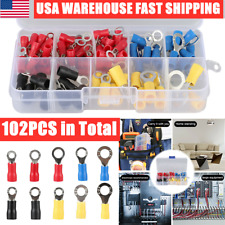102Pcs Insulated Electrical Crimp Ring Spade Assorted Connector Wire Terminal