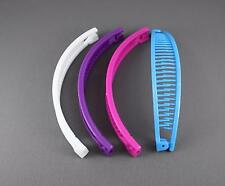 White Purple Pink Aqua set pack 4 banana hair clips comb claw teeth plastic