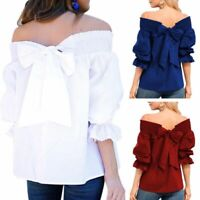 Women Loose Off Shoulder Ruffle Puff Sleeve Shirt Bow Knot Tops Tunic Blouse Tee