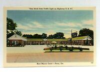 Perry Georgia New Mecca Court Linen Vintage Postcard