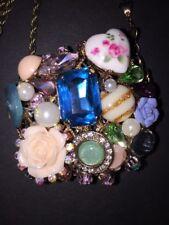 Betsey Johnson Goldtone Vintage Bows Heart Round Pendant Long Necklace $65