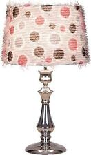 Funky Retro Silver Table/Bedside Lamp With Retro Dots Shade