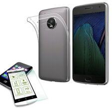 Silikoncase Transparent Tasche + 0,3 H9 Panzerglas für Motorola Moto G5S Hülle